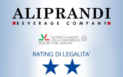 ALIPRANDI OTTIENE LA SECONDA STELLA RATING DI LEGALITA' AGCM